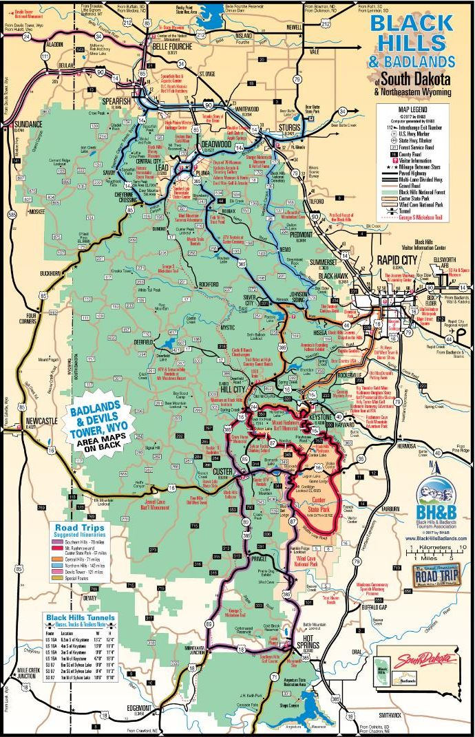 Карта дорог Южной Дакоты