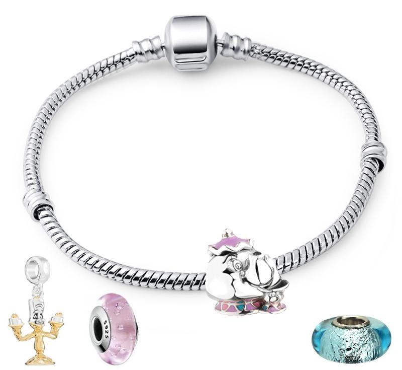 серебряный позолоченный браслет с подвеской миссис Поттс