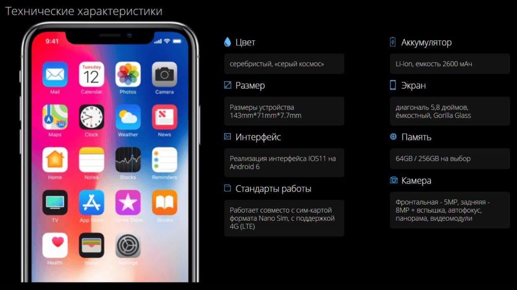 Реплика iPhone 11 Pro характеристики
